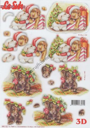 Dogs At Christmas Die Cut 3d Decoupage Sheet